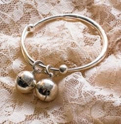 Sterling silver baby bangle: a three-way family treasure