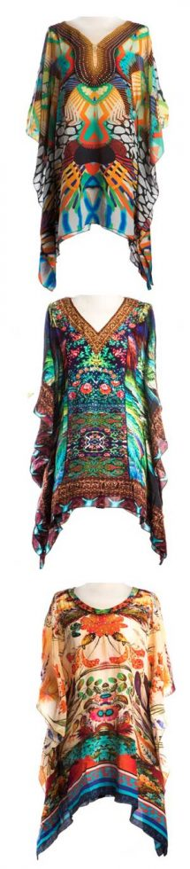 Fabulous new limited edition St Tropez pure silk kaftan, crystal embellished: a snip at £59 instead of £125