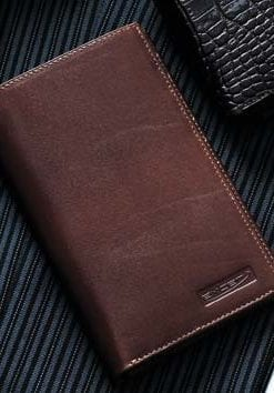 Fine leather slim tall breast pocket wallet