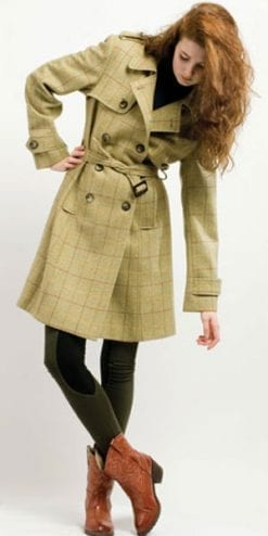 Stylish pure wool double-breasted tweed ladies' trench