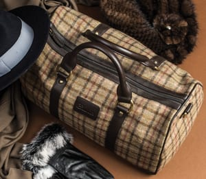 Limited edition pure wool tweed and leather day bag by Abraham Moon