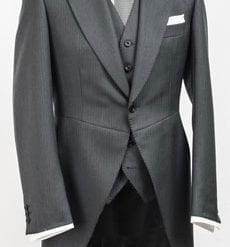 Well-tailored pure wool gentleman's morning tailcoat: dark grey, 460g (16oz)