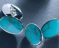 Turquoise and sterling silver cufflinks, a snip at £23