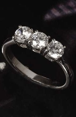 Fabulous three-stone 1.5 carat diamond ring from Hatton Garden