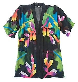 Tropic Ginger pure silk hand-painted top from Hawaii