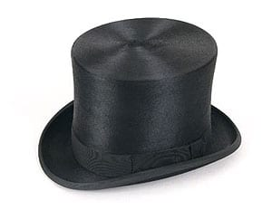 The world's finest top hat: the polished black fur top hat by Christys' & Co: tall crown