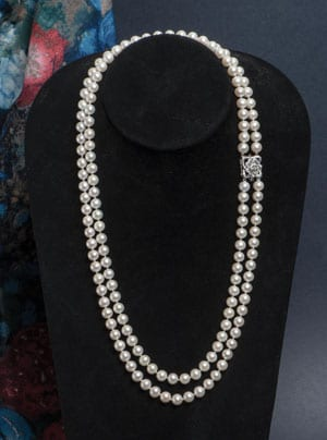 Long and beautiful: Pearl, Diamond and Gold double-strand 'Turandot' Necklace