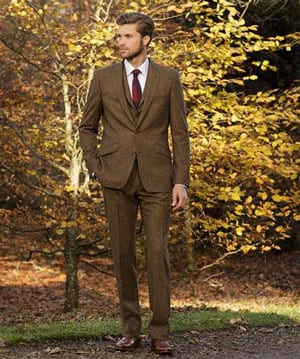 Stylish new three-piece pure wool tweed suit tailored by Magee of Donegal