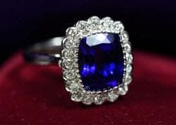 Sensational 6.71-carat AAAA-plus tanzanite, diamond and 18ct white gold Revelation Ring
