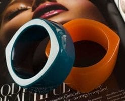 Eye-popping arm candy: toffee and teal bangles