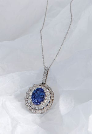 Glorious Temptation Necklace from Hatton Garden: 3.30 carat tanzanite and 1.51 carat diamond