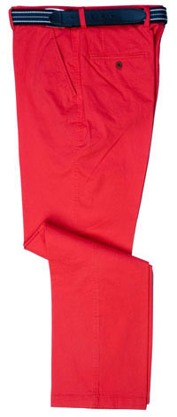 Non-boring, in-vogue red chinos by English tailors Gurteen