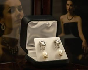 Stunning contemporary new Venus pearl and silver earrings from the new South Seas Interstellar collection
