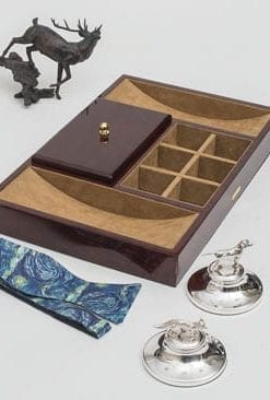 Craftsman-made, super-useful Valet Tray in polished camphor burl wood, by Hillwood