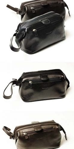 Handmade fine leather gentleman's washbag