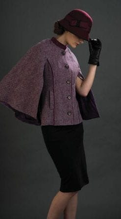 Effortless chic: Pure wool tailored cape-jacket by Magee