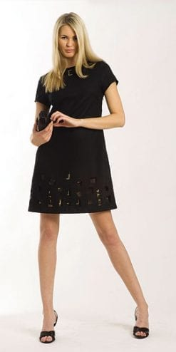 Little black dress with square peepholes