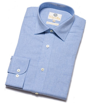 Warm Viyella Cotton And Wool Plain Blue 80 20 Shirt Members Save 18 Countryclubuk