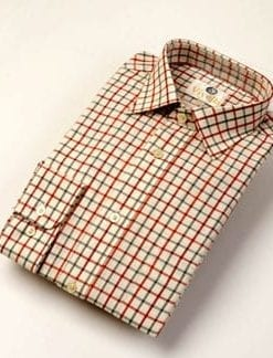 Smart, warm Viyella medium tattersall check cotton and merino wool shirt