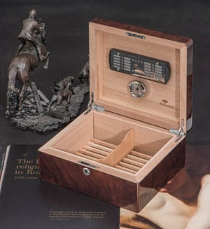Fine new English Burl Walnut Cigar Humidor by the experts, Hillwood of London