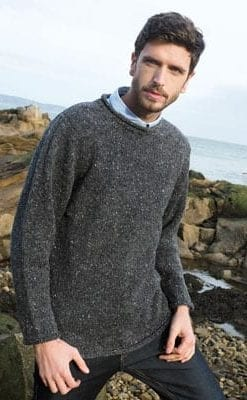 Gorgeous new pure Donegal wool curl neck sweater