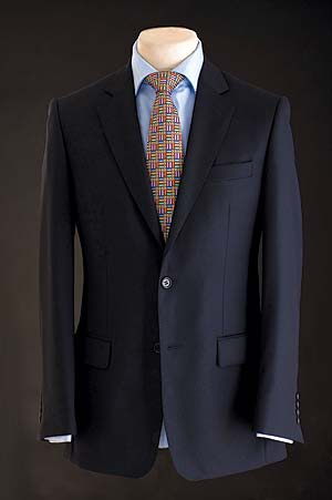 Elegant, well-cut and beautifully tailored pure wool hand-stitched navy suit: save over £200