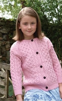 Irish knitted, hand finished, extra-soft Merino cardigan for girls