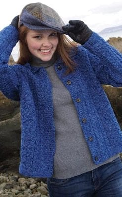 Smart little in-vogue blue merino cardigan-jacket