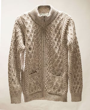 One of the top knits for men this season: Westend's Aran zipped cardigan in merino wool