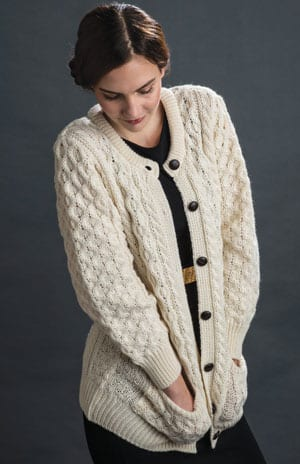 Classic Irish Aran crew neck ladies' cardigan with leather buttons