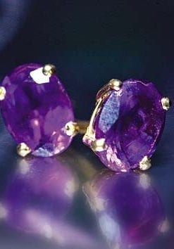 Amethyst and 18ct yellow gold earrings