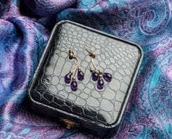 Amethyst and 14ct gold pear-cut earrings