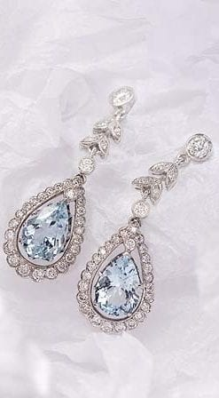 Aquamarine, Diamond and 18ct Gold Earrings