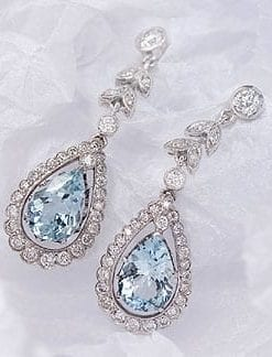 Aquamarine, diamond and 18ct gold pendant earrings