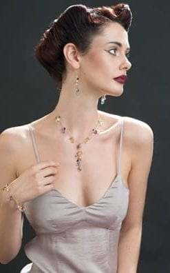 The Angel Falls: semi-precious gems and 14ct gold: Set of necklace, earrings and bracelet