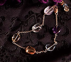 Graceful Angel Falls Bracelet in natural gemstones and 14ct gold