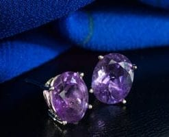 Gorgeous classics: the new amethyst and 14ct white gold earrings: only £96 (saving £124)