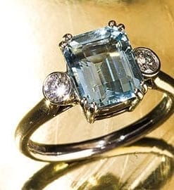 Emerald-cut aquamarine Art Deco ring