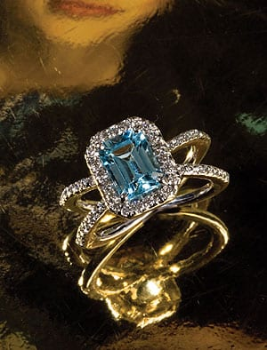 Aquamarine and Diamond Azura Ring