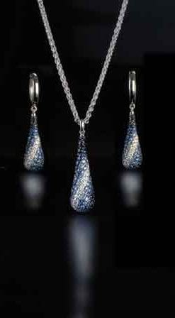 New Sapphire and Silver Collection from New York: Aphros Teardrop Pendant and Earrings