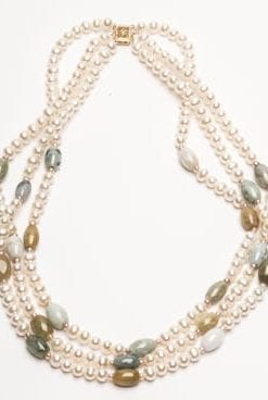Contemporary new three-strand natural pearl, jade and 14ct gold designer necklace