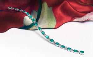 Striking and enchanting 14 carat Emerald and Diamond Bracelet from London's Hatton Garden