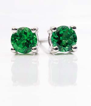 Emerald and White Gold Earrings from Hatton Garden