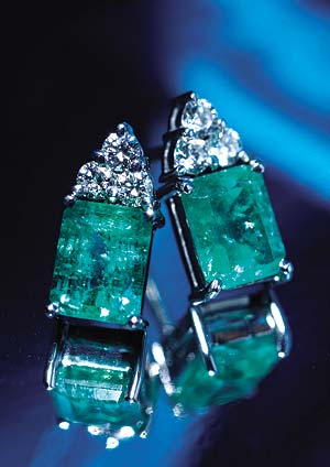 Emerald, Diamond and 18ct Gold Earrings from Hatton Garden