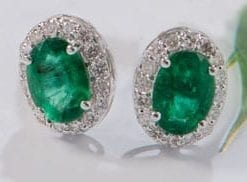 Stunning emerald and diamond cluster earrings from Hatton Garden