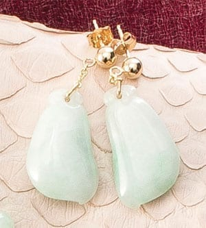 Fine natural Burmese jade and 14ct gold jewellery: Fortuny Earrings,