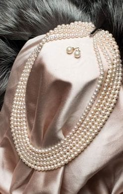 Spectacular new five-strand pearl necklace from Hawaii with 14ct gold clasp