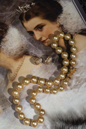 Natural golden South Sea pearl and 14ct gold and ruby Opera Necklace