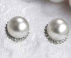 Elegant natural South Sea Pearl, diamond and 14ct white gold Lunar Earrings
