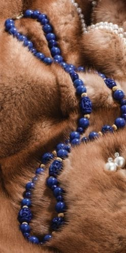 Hand-carved blue lapis and 14ct gold Indus Necklace